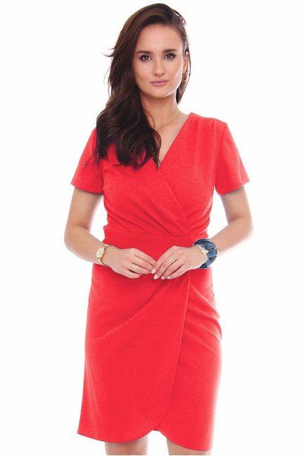 Sukienka kopertowa z krótkim rękawem czerwona