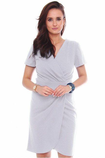 Sukienka kopertowa z krótkim rękawem szara