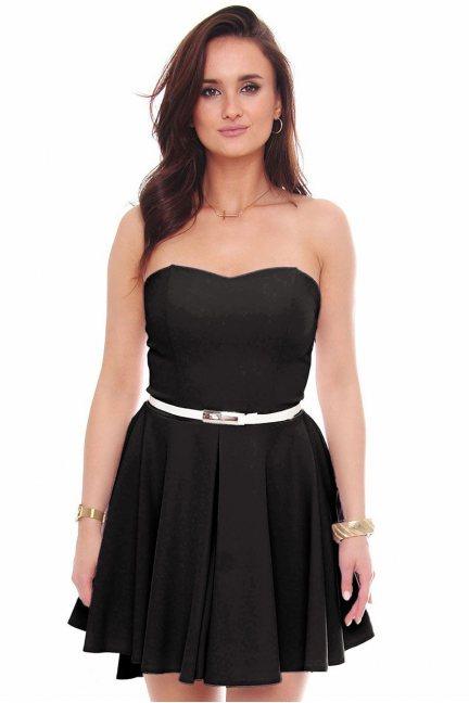 Sukienka mini z dłuższym tyłem czarna