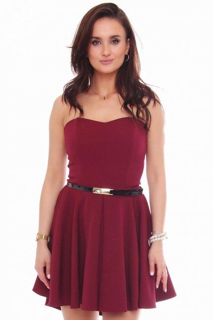 Sukienka mini z dłuższym tyłem bordowa