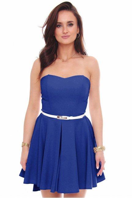 Sukienka mini z dłuższym tyłem chabrowa
