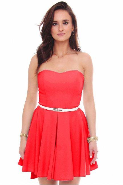 Sukienka mini z dłuższym tyłem czerwona