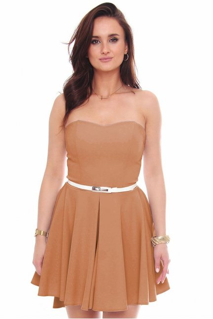 Sukienka mini z dłuższym tyłem camel