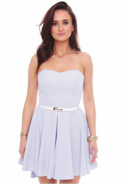 Sukienka mini z dłuższym tyłem błękitna