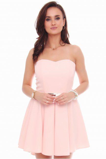 Sukienka mini z dłuższym tyłem różowa