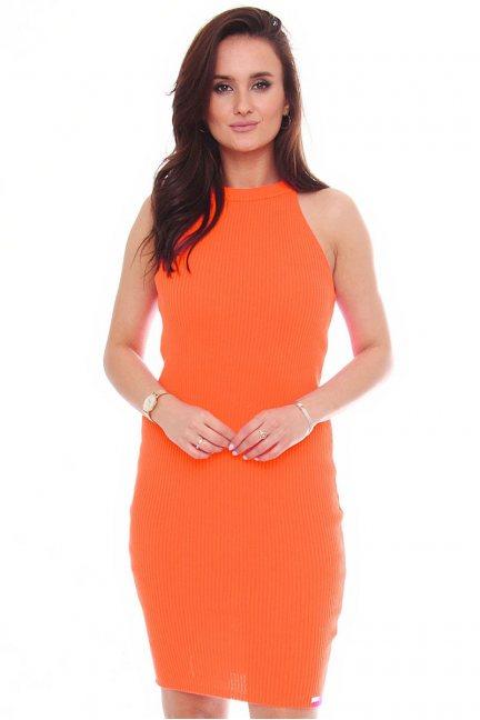 Sukienka damska dopasowana pomarańcz