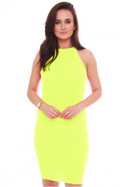 Sukienka damska dopasowana żółta