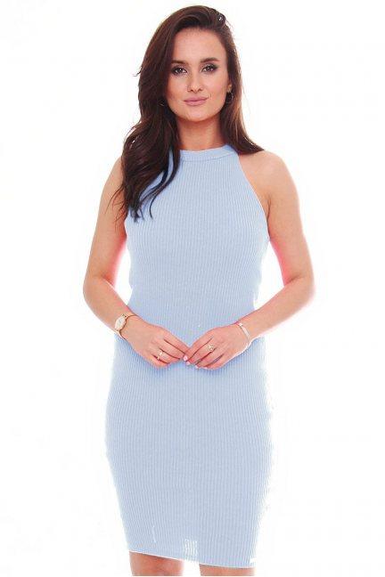 Sukienka damska dopasowana błękitna