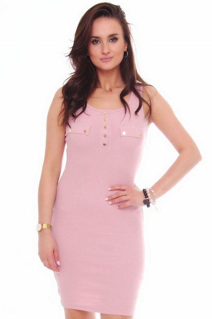 Sukienka bawełniana na ramiączka różowa