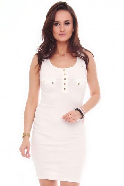 Sukienka bawełniana na ramiączka biała
