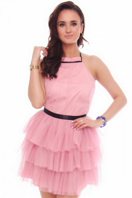 Sukienka damska mini z szyfonu różowa