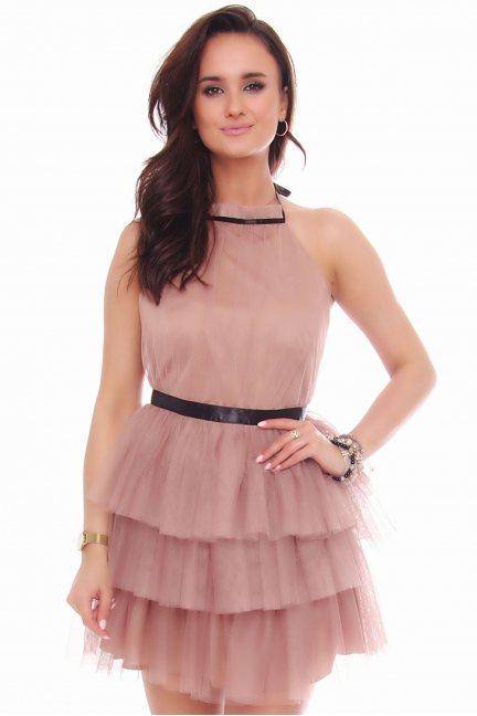 Sukienka damska mini z szyfonu beżowa
