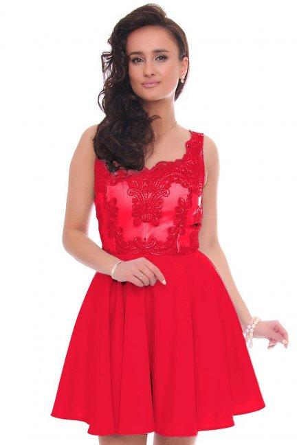 Sukienka rozkloszowana mini z gipiurą czerwona