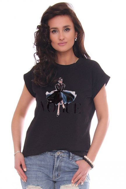 T-shirt damski z nadrukiem Vogue czarny