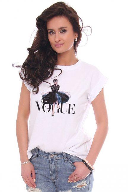 T-shirt damski z nadrukiem Vogue biały