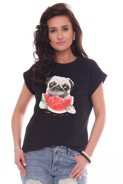 T-shirt bawełniany nadruk Dog czarny