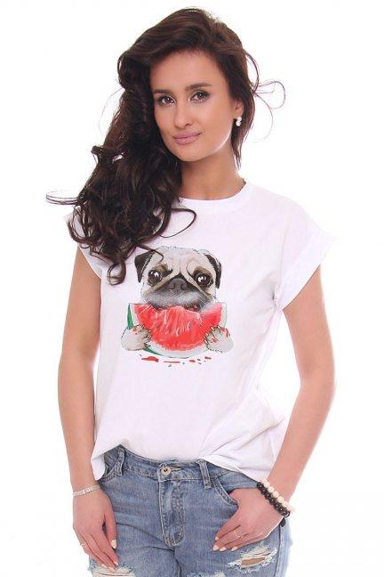 T-shirt bawełniany nadruk Dog biały