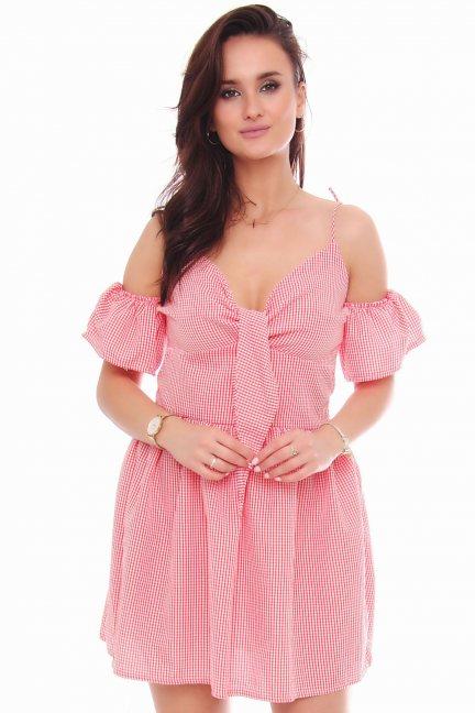 Sukienka mini wiązane ramiączka czerwona