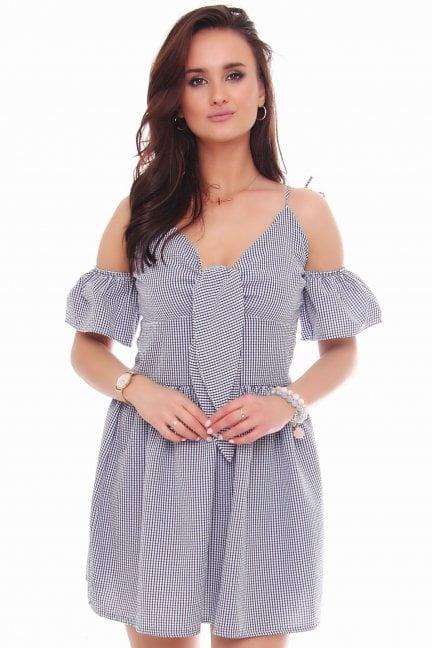 Sukienka mini wiązane ramiączka niebieska