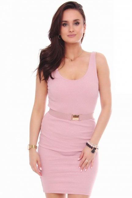 Sukienka dopasowana z paskiem różowa