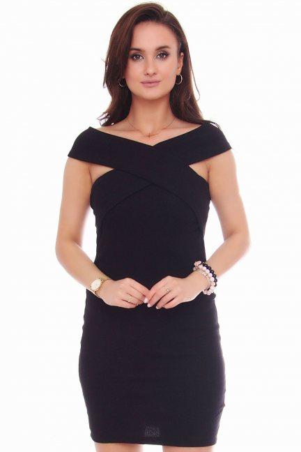 Sukienka wizytowa mini z bawełny czarna