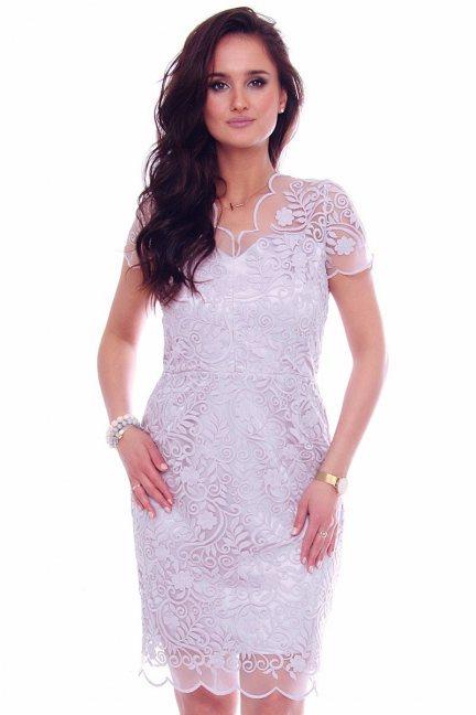Sukienka midi ołówkowa z gipiurą szara