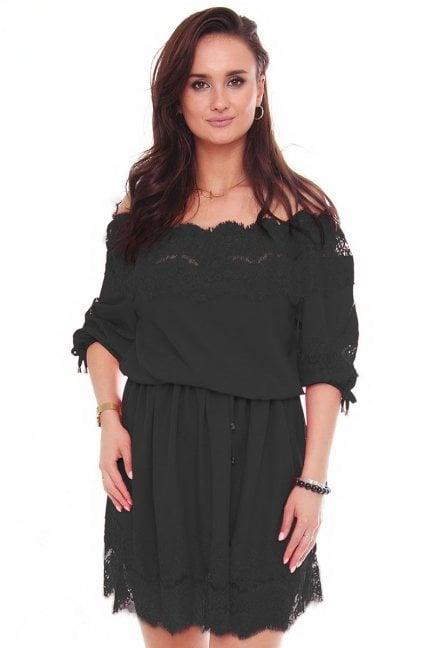 Sukienka mini z szyfonu koronka czarna