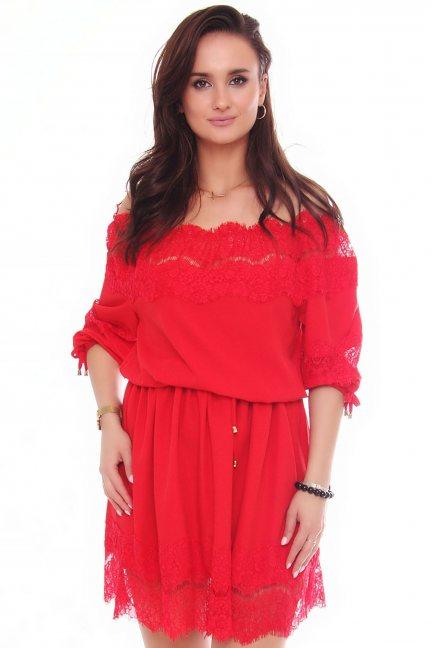Sukienka mini z szyfonu koronka czerwona