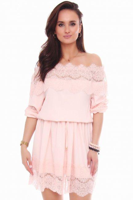 Sukienka mini z szyfonu koronka różowa