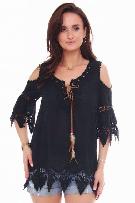 Bluzka modna odkryte ramiona czarna