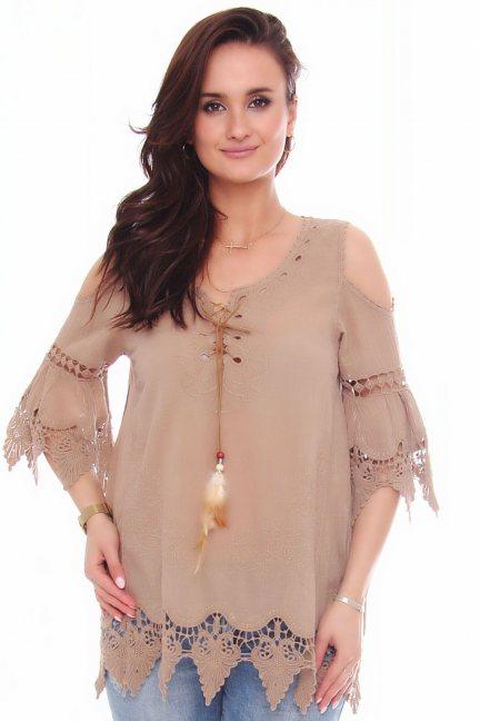 Bluzka modna odkryte ramiona brązowa