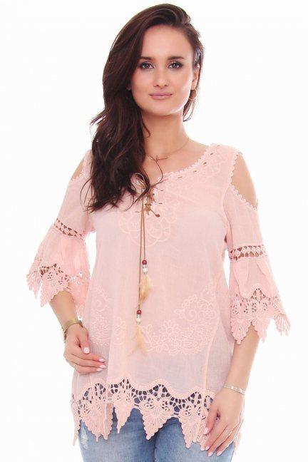 Bluzka modna odkryte ramiona różowa