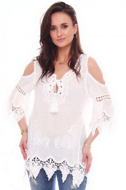 Bluzka bawełniana wiązany dekolt biała