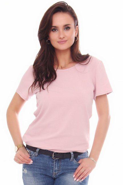 T-shirt bawełniany gładki koszulka różowy
