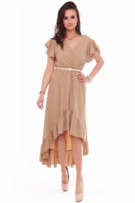 Sukienka asymetryczna z falbankami camel