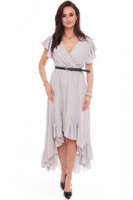 Sukienka asymetryczna z falbankami szara