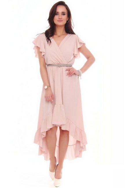Sukienka asymetryczna z falbankami różowa