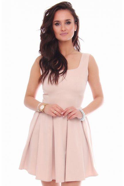 Elegancka sukienka karo CM303 beżowa