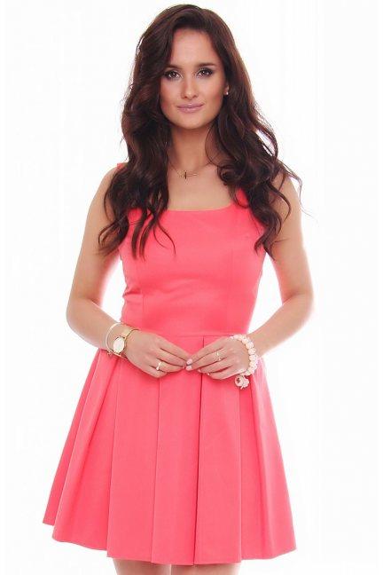 Elegancka sukienka karo CM303 koralowa