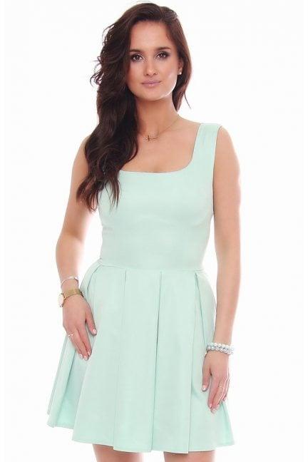 Elegancka sukienka karo CM303 miętowa