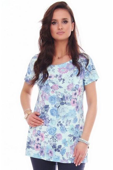 Bluzka tunika w kwiaty CM153 niebieska