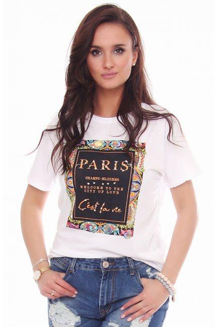 Bluzka damska z nadrukiem Paris biała