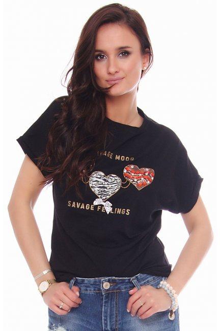 Koszulka sportowa z serduszkami czarna