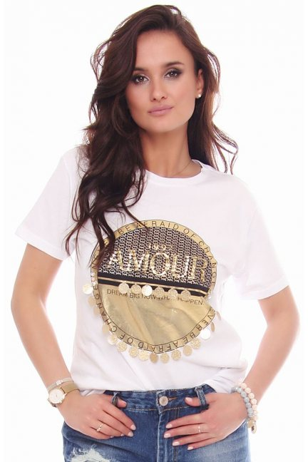 T-shirt koszulka damska napis Amour biała