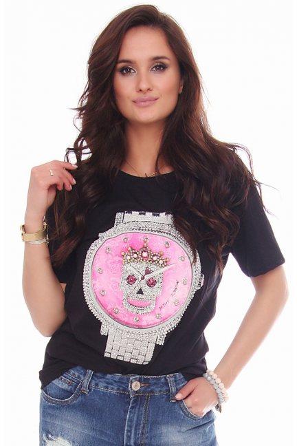 Bluzka modna nadruk zegara czarna