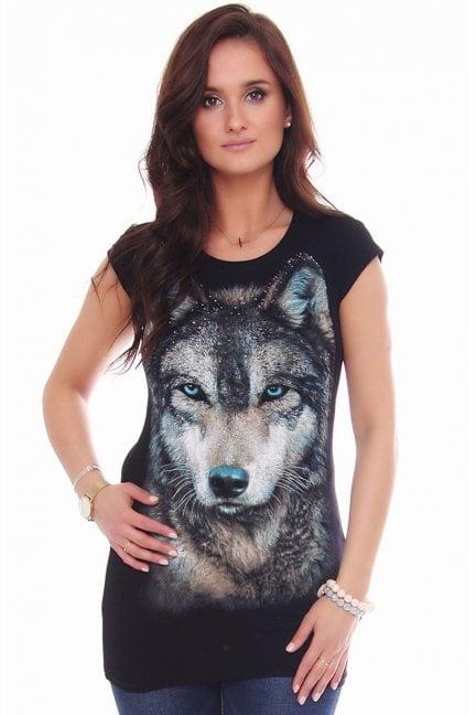 Koszulka damska z nadrukiem wilka czarna