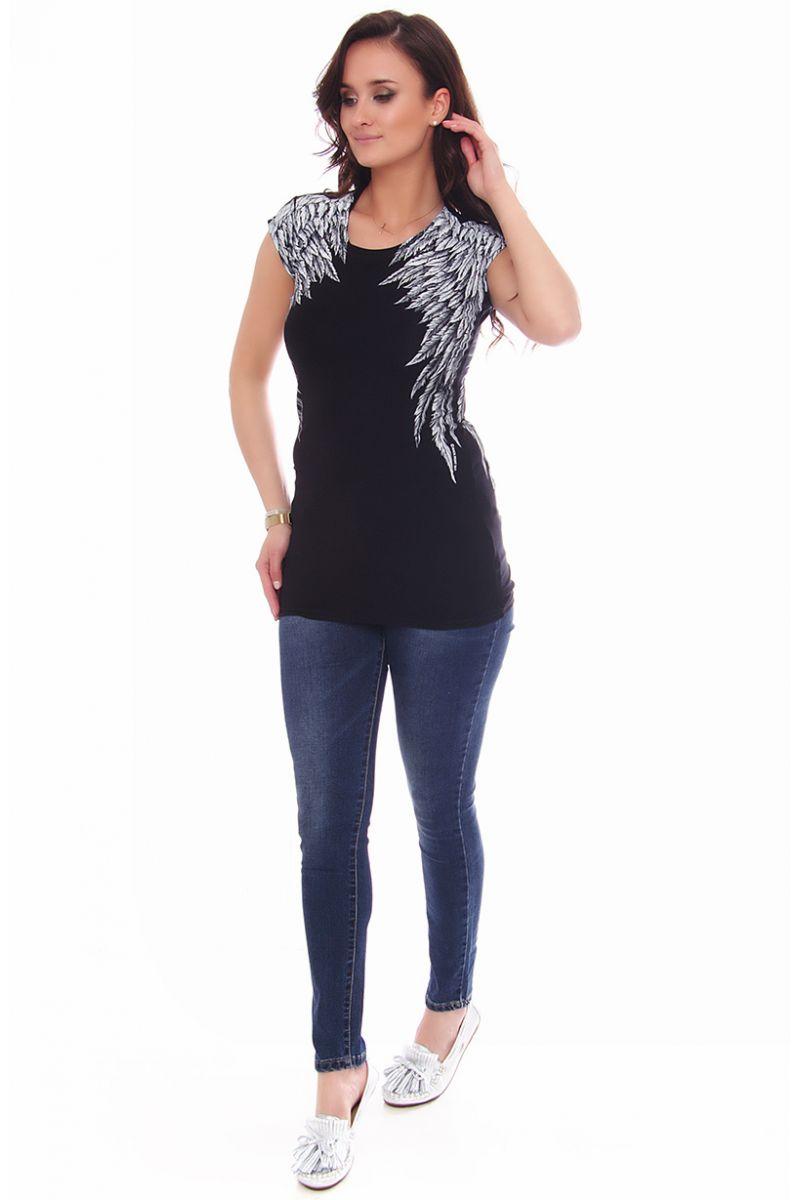 czarna damska bluza ze skrzydlami na plecach damska