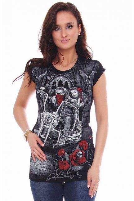 Koszulka damska T-shirt z motorem czarna