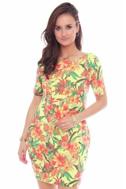 Sukienka tuba w kwiaty CM288 zielona