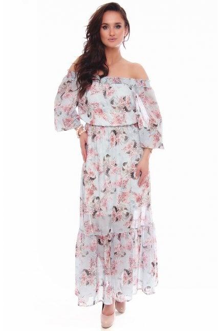 Sukienka maxi zwiewna w kwiaty błękit